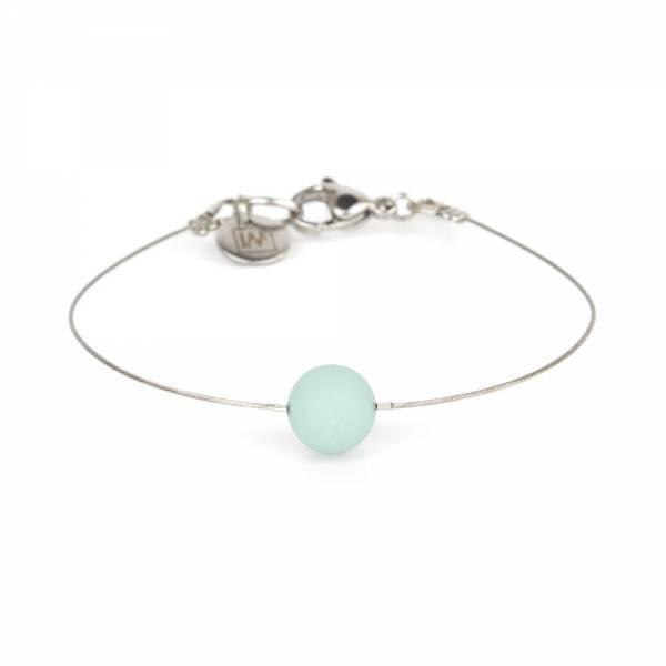 """Amazonite Mini Cosmo"" - Women's Beaded Minimalist Bracelet, Zodiac Bracelet, Stainless Steel"