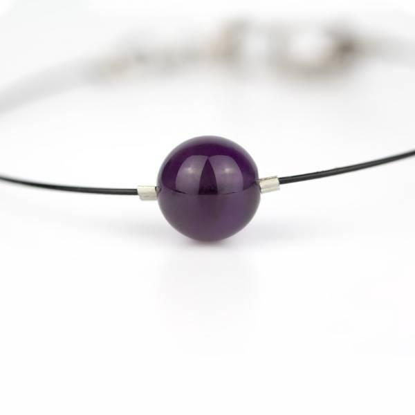 """""""Amethyst Mini Cosmo"""" - Women's Beaded Minimalist Bracelet, Zodiac Bracelet, Stainless Steel"""