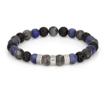 """""""Apollo Silver Trio"""" - Black Labradorite, Sodalite and Lava Stone Beaded Bracelet, Sterling Silver"""
