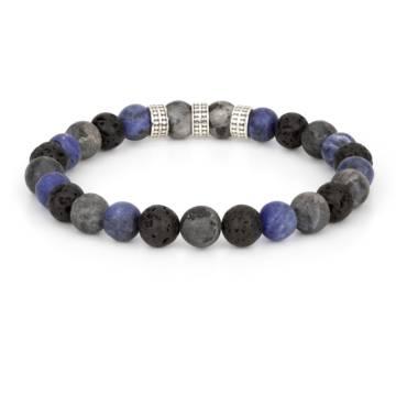 apollo silver trio beaded stretch bracelet 2