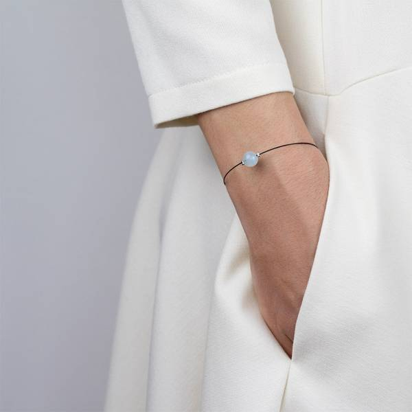 """""""Aquamarine Mini Cosmo"""" - Women's Beaded Minimalist Bracelet, Zodiac Bracelet, Stainless Steel"""