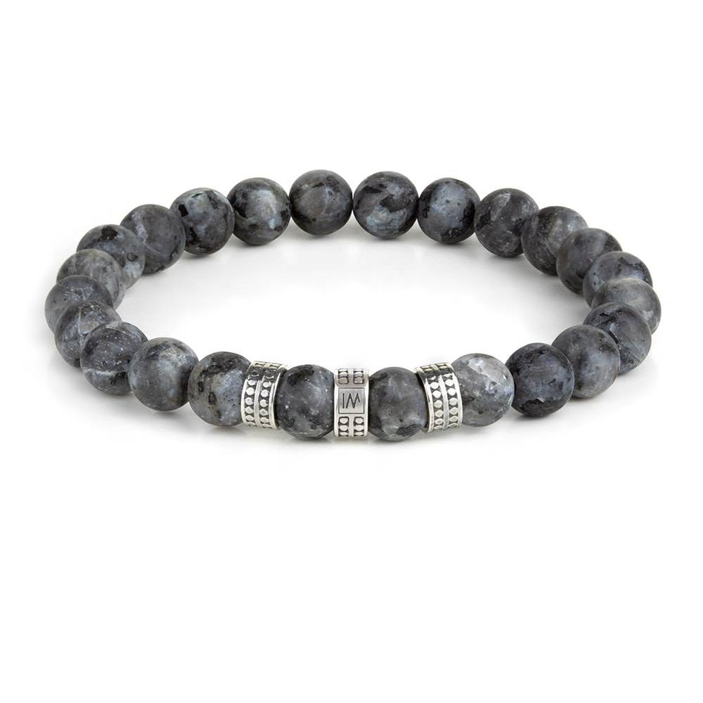 Genuine and Natural LABRADORITE Strech Bracelet with 925 Sterling Silver Beads