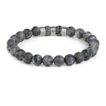 black aurora silver trio beaded stretch bracelet 2