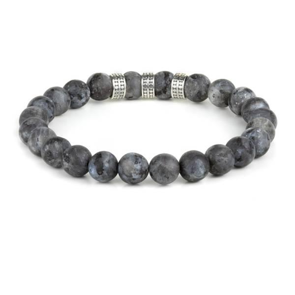 """""""Black Aurora Silver Trio"""" - Black Labradorite Beaded Stretch Bracelet, Sterling Silver"""