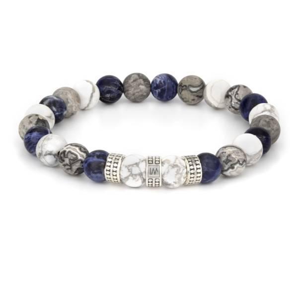"""""""Blue Silver Trio"""" - Howlite, Sodalite and Grey Picasso Jasper Stretch Bracelet, Sterling Silver"""