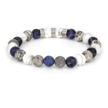 blue silver trio beaded stretch bracelet 2