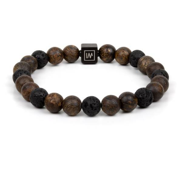 """""""Calm After The Storm"""" - Bronzite and Lava Stones Beaded Stretch Bracelet, Stainless Steel"""