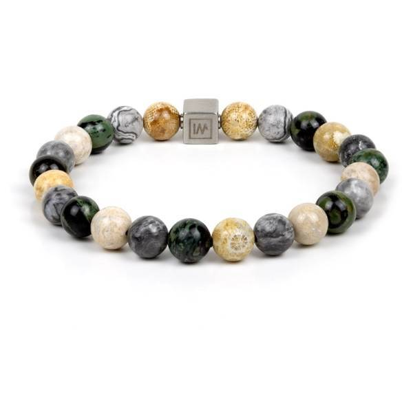 """Destiny"" - Fossil Coral, Grey Picasso Jasper and Kambaba Jasper Beaded Bracelet, Stainless Steel"