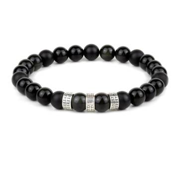 """""""Dragonglass Protector Silver Trio"""" - Black Obsidian and Black Agate Beaded Bracelet, Sterling Silver"""