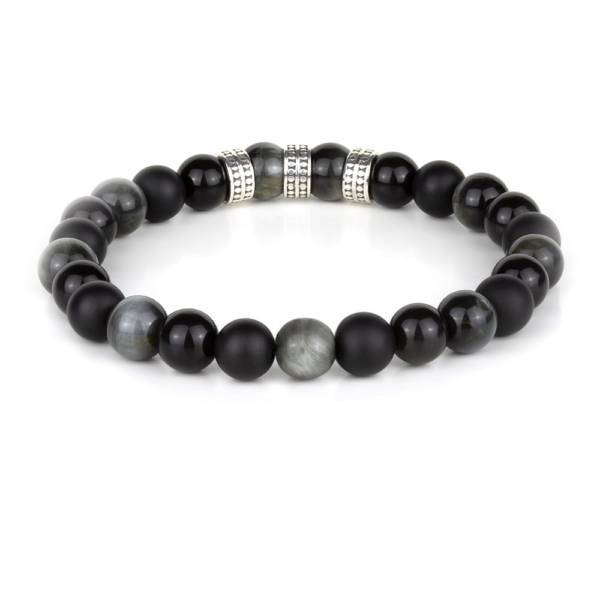 """Eagle Warrior Silver Trio"" - Eagle Eye, Black Obsidian And Black Agate Beaded Bracelet, Sterling Silver"