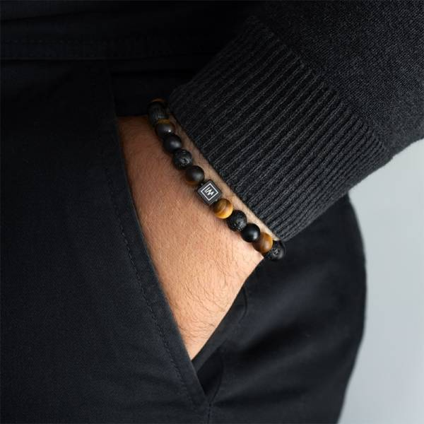 """""""Endurance Muted"""" - Tiger Eye, Black Agate and Lava Stone Stretch Bracelet, Stainless Steel"""