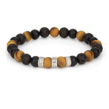 """""""Endurance Muted Silver Trio"""" - Tiger Eye, Black Agate and Lava Stone Beaded Stretch Bracelet, Sterling Silver"""