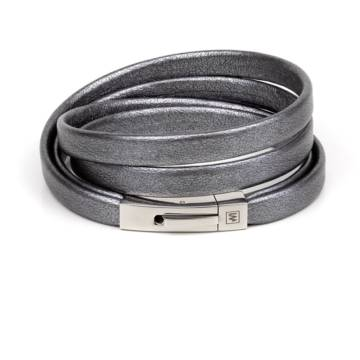 Graphite Leather Bracelet