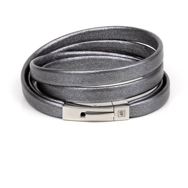 """""""Graphite"""" - Leather Bracelet, Double Wrap Stainless Steel Clasp"""