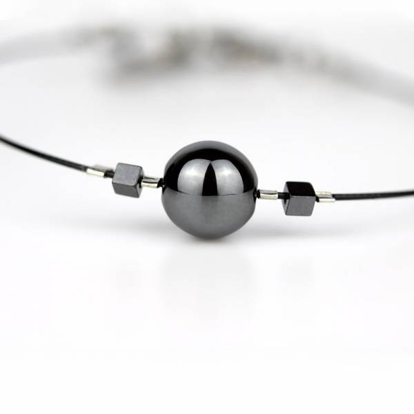 """Hematite Mini Cosmo"" - Women's Beaded Minimalist Bracelet, Zodiac Bracelet, Stainless Steel"