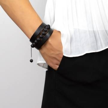 black intense beaded leather bracelet 4