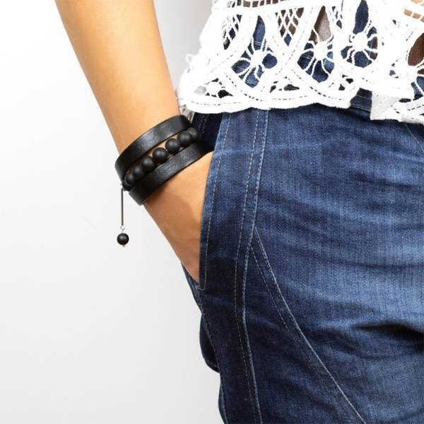 Black Intense Beaded Leather Bracelet