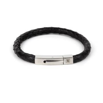 Black Python Leather Single Wrap Bracelet