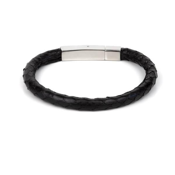 Black Python Leather Single Wrap Bracelet