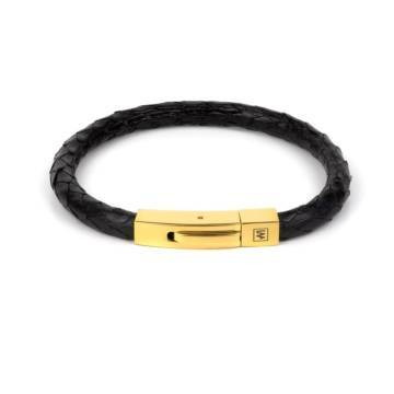black python fancy leather single bracelet gold 1