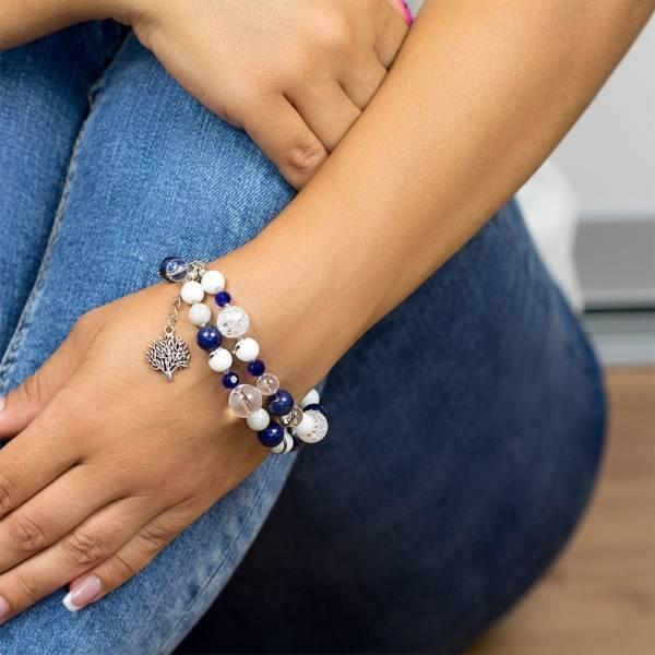 """Blue Ocean Sky"" - Lapis Lazuli, Clear Quartz, White Onyx and Grey Jade Women's Beaded Bracelet"