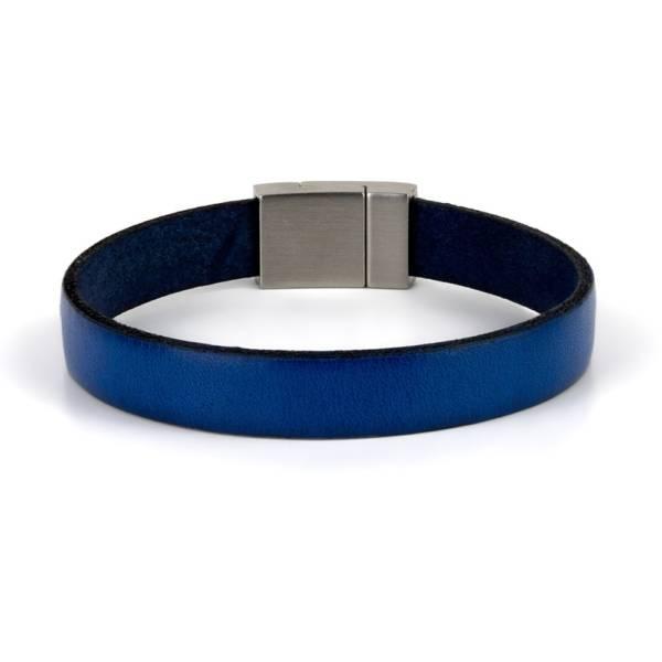 """Blue Wind"" - Leather Bracelet, Single Wrap Stainless Steel Clasp"