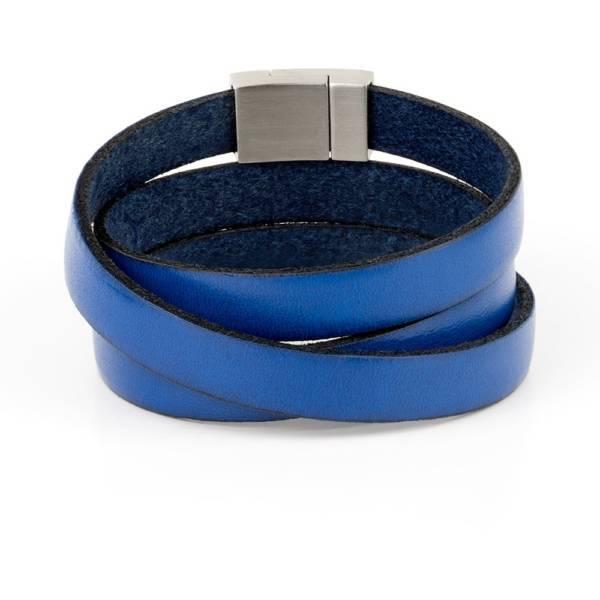 """""""Blue Wind Triple"""" - Leather Bracelet, Triple Wrap Stainless Steel Clasp"""