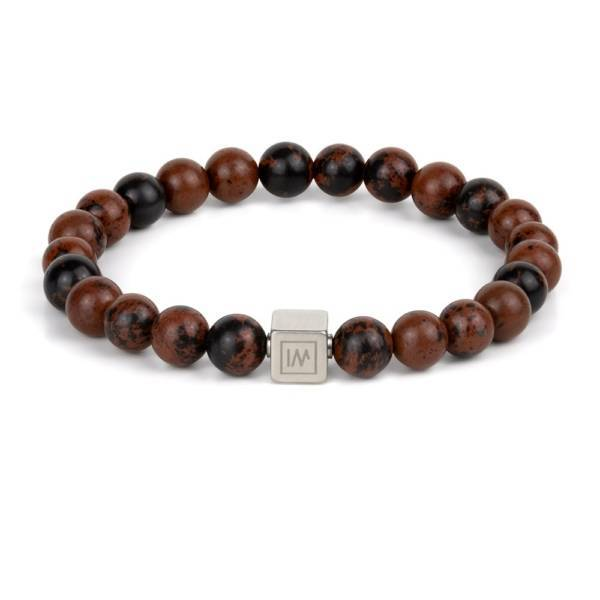 """""""Circle of Reflection"""" - Mahogany Obsidian Beaded Stretch Bracelet, Stainless Steel"""