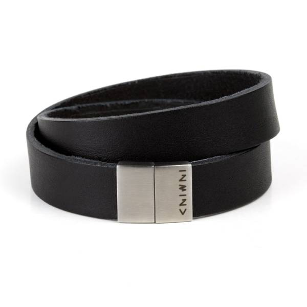 """""""Confidence Double"""" - Leather Bracelet, Double Wrap Stainless Steel Magnetic Clasp"""