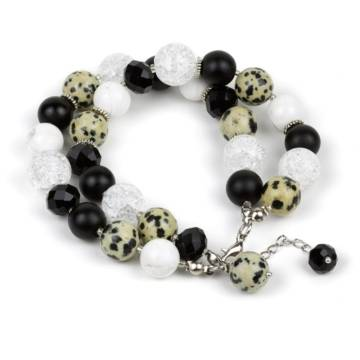 """Dalmatian Elegance"" - Dalmatian Jasper, Clear Quartz, Shungite, Howlite and Crystal Women's Beaded Bracelet"