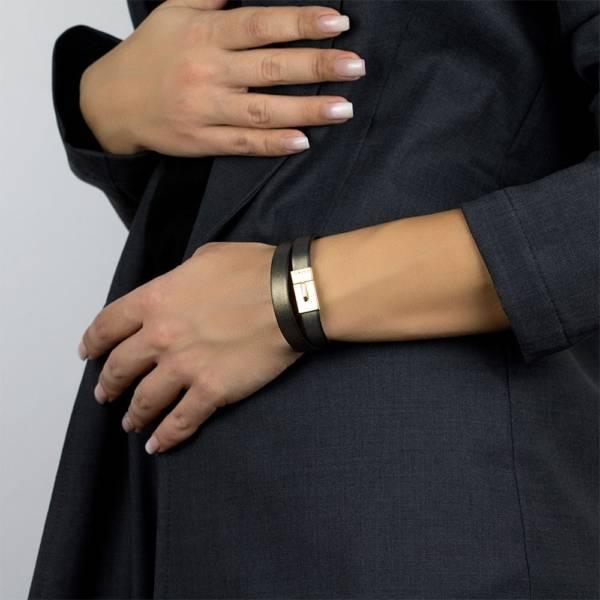 Dark Gold Double Leather Bracelet