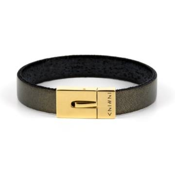 Dark Gold Leather Bracelet