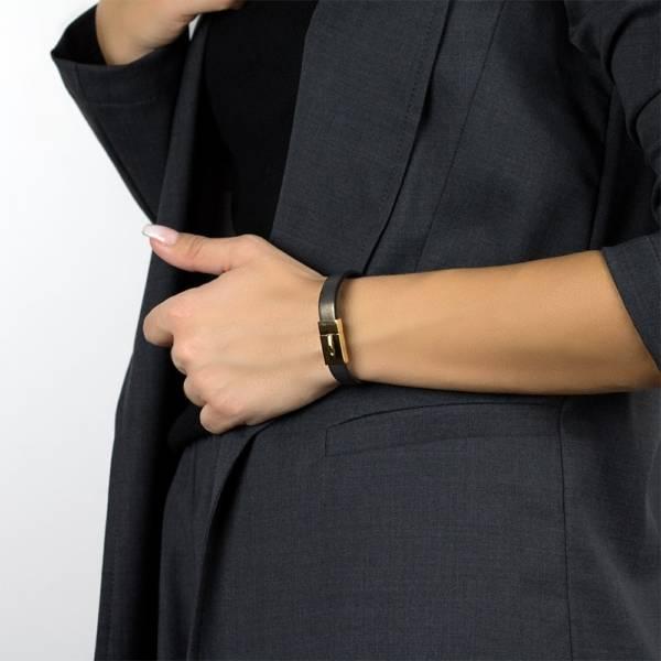 """Dark Gold"" - Leather Bracelet, Single Wrap Stainless Steel Clasp"
