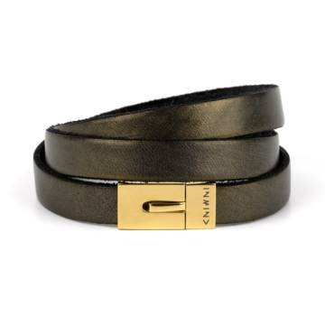 Dark Gold Triple Leather Bracelet