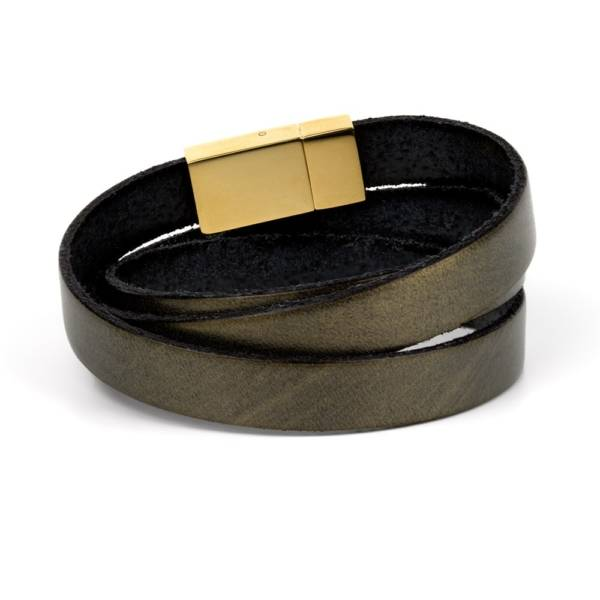 """Dark Gold Triple"" - Leather Bracelet, Triple Wrap Stainless Steel Clasp"