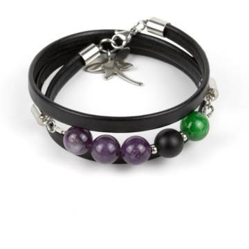 """""""Forest Tale"""" - Amethyst, Shungite and Green Marble Beaded Leather Wrap Bracelet"""