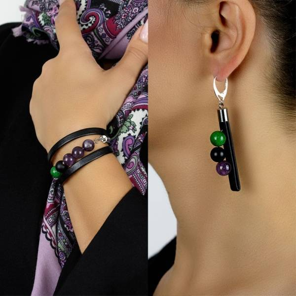 """""""Forest Tale Set"""" - Amethyst, Shungite and Green Marble Beaded Leather Wrap Bracelet and Earrings Set"""