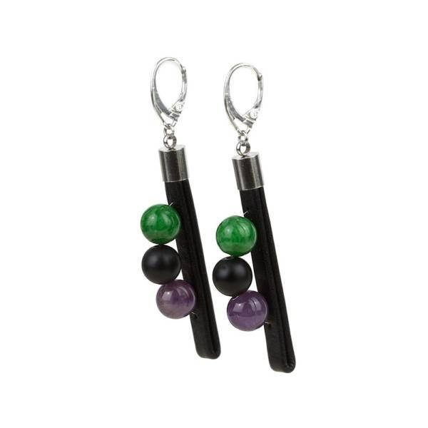"""""""Forest Tale"""" - Amethyst, Shungite and Green Marble Leather Drop Earrings, 925 Sterling Silver Leverbacks"""