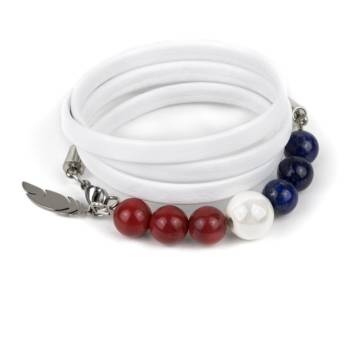 """""""French Elegance"""" - Lapis Lazuli, Red Coral and Ceramic Beaded Leather Wrap Bracelet"""