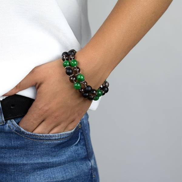 """Green Clouds"" - Green Marble, Shungite and Smoky Quartz Women's Beaded Bracelet"