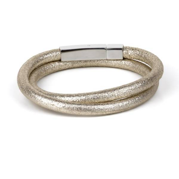 """""""Ice Gold"""" - Fancy Leather Bracelet, Exotic, Double Wrap, Stainless Steel"""
