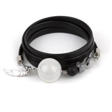 """Imperial Shield"" - Tourmaline Quartz, Shungite and Ceramic Beaded Leather Wrap Bracelet"