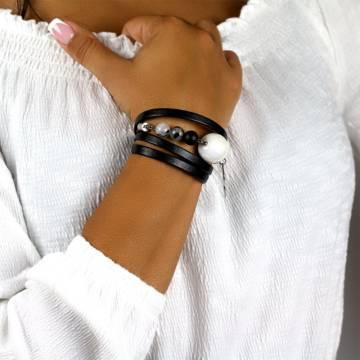 imperial shield beaded leather bracelet 4