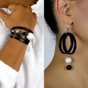 imperial shield beaded leather bracelet earrings set 2