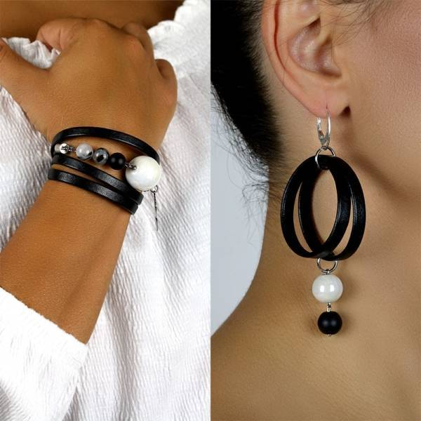 """Imperial Shield Set"" - Tourmaline Quartz, Shungite and Ceramic Beaded Leather Wrap Bracelet and Earrings Set"