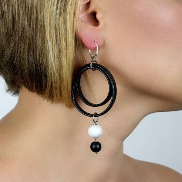 """""""Imperial Shield"""" - Shungite and Ceramic Leather Drop Earrings, 925 Sterling Silver Leverbacks"""