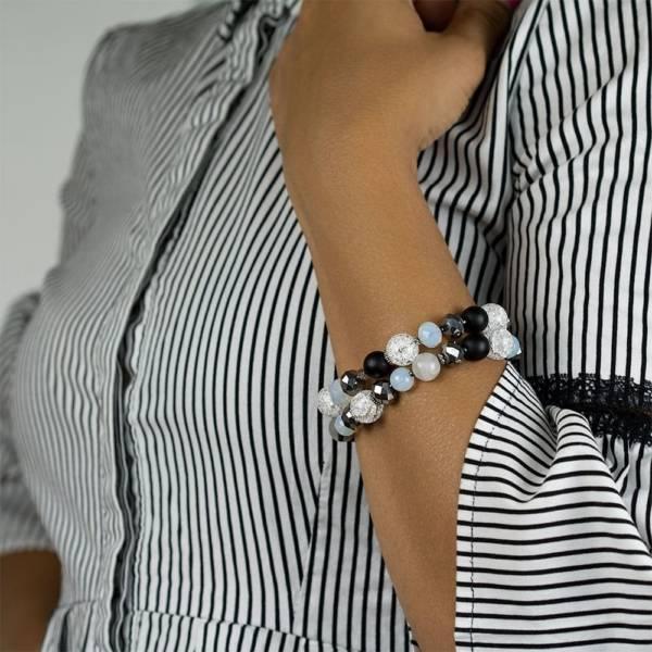 """Imperial Woman"" - Opalite, Shungite, Tourmaline Quartz, Clear Quartz And Crystal Women's Beaded Bracelet"