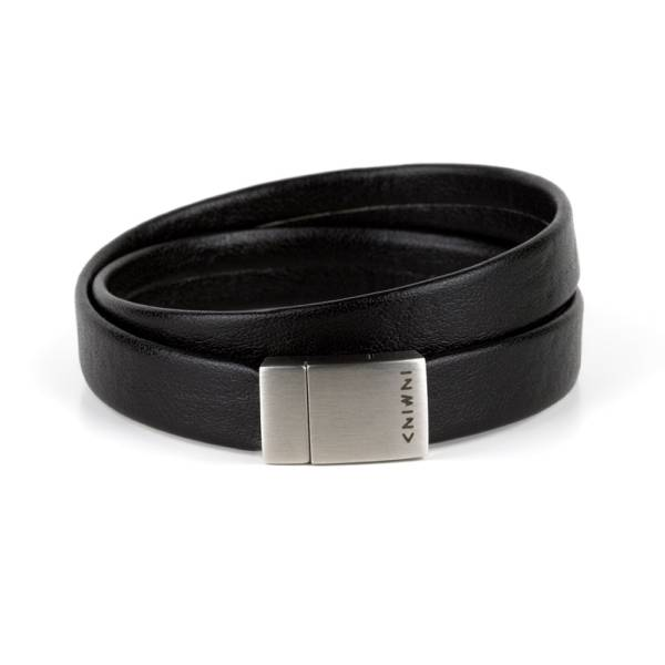 """""""Less Is More Double"""" - Leather Bracelet, Double Wrap Stainless Steel Clasp"""