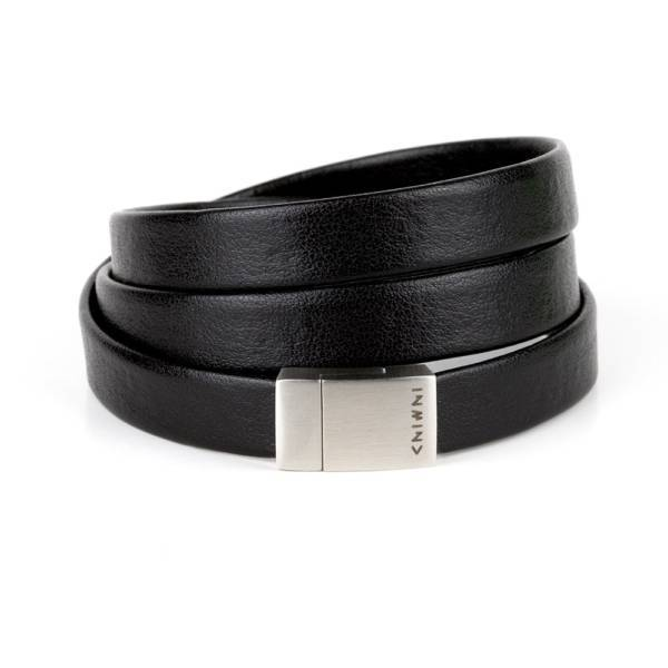 """""""Less Is More Triple"""" - Leather Bracelet, Triple Wrap Stainless Steel Clasp"""