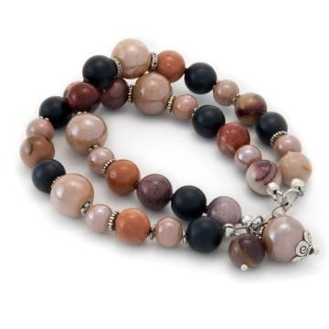"""Life Adventure"" - Mookaite, Shungite and Ceramic Women's Beaded Bracelet"